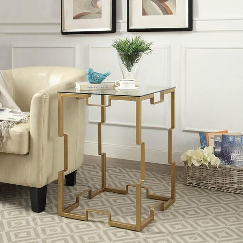 Tremendous Nahia 18 Square Glass Top Table Gold Carolina Chair Table Machost Co Dining Chair Design Ideas Machostcouk