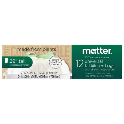 Matter 100% Compostable Universal Tall Kitchen Trash Bags - 13 Gallon/12ct