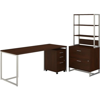 Office by kathy ireland Method Computer Desk w/File Cabinets and Hutch