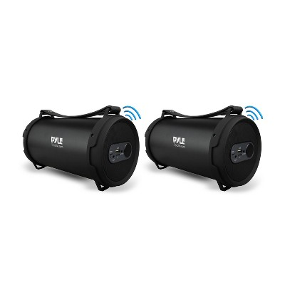 Pyle PBMSPG7 60 Watt Portable Bluetooth Wireless Indoor/Outdoor BoomBox Speaker Stereo Digital Sound Amplifier, Black (2 Pack)