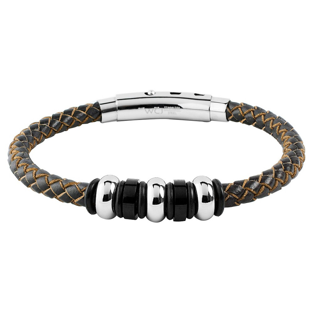 Men's West Coast Jewelry Stainless Steel Brown Leather Braided and Beaded Bracelet