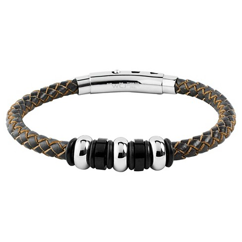 Men S West Coast Jewelry Stainless Steel Brown Leather Braided And Beaded Bracelet