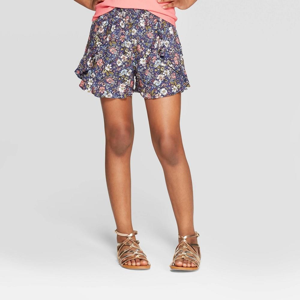 Best Price Girls Side Ruffle Shorts Art Class Navy Blue XL