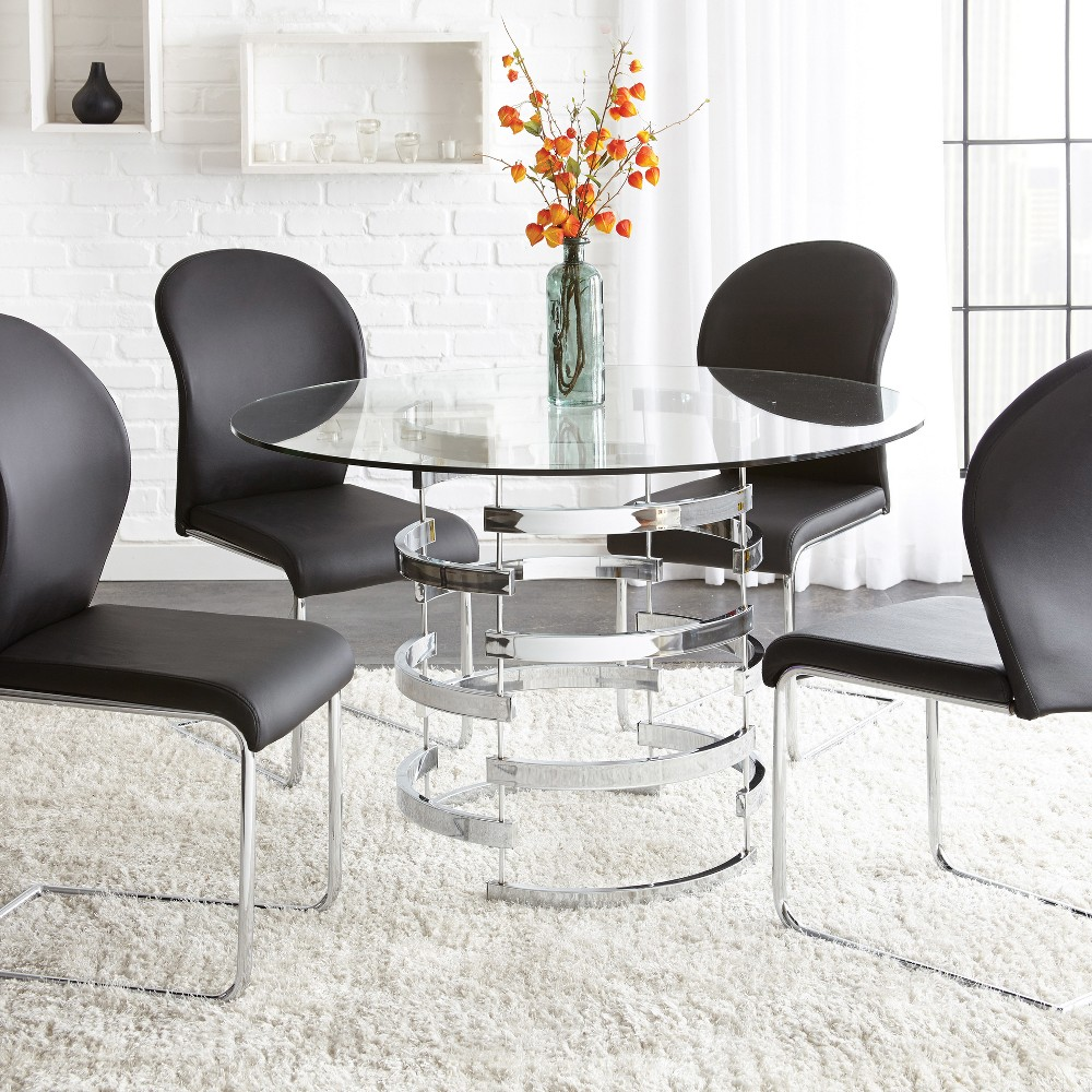 Image of Tarik Round Dining Table Chrome - Steve Silver, Silver Clear