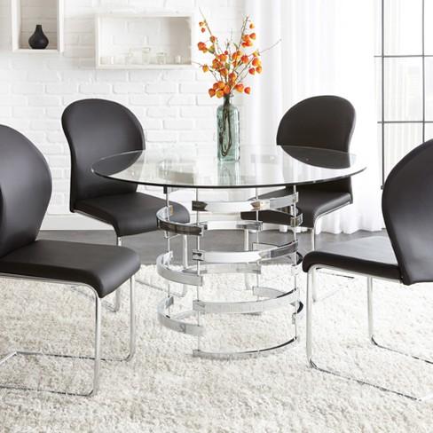 Tarik Round Dining Table Chrome - Steve Silver - image 1 of 2