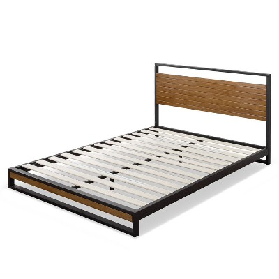 Twin Suzanne Platform Bed with Headboard Black - Zinus