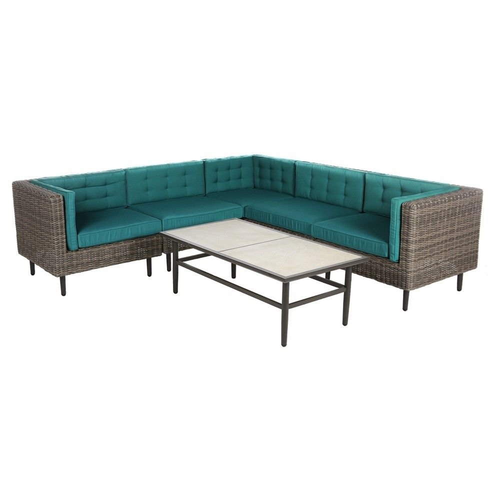 Image of Aimee 6pc All-Weather Wicker Patio Sectional Seating Set - Spectrum Peacock - AE Outdoor