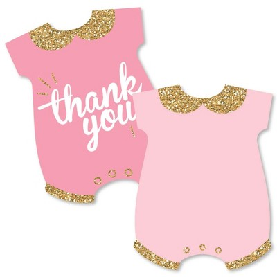 Big Dot of Happiness Hello Little One - Pink and Gold - Shaped Thank You Cards - Girl Baby Shower Thank You Note Cards with Envelopes - Set of 12