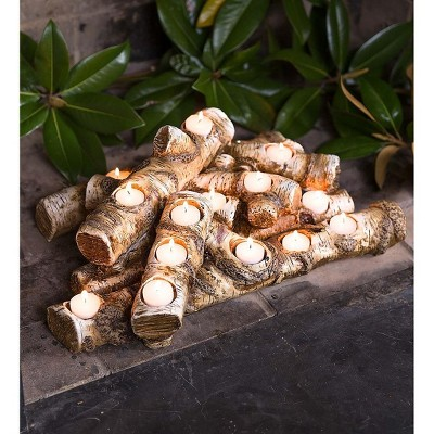 Plow & Hearth - Large Resin Faux Log Fireplace Candle Holder
