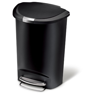 Simplehuman studio 50 Liter Semi-Round Step Trash Can, Black Plastic