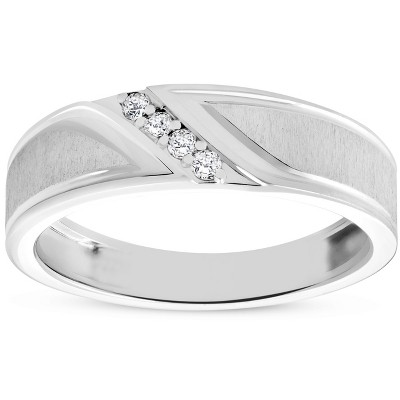 Pompeii3 Mens 1/10ct White Gold Diamond Ring Flat Classic Bushed Wedding Anniversary Band