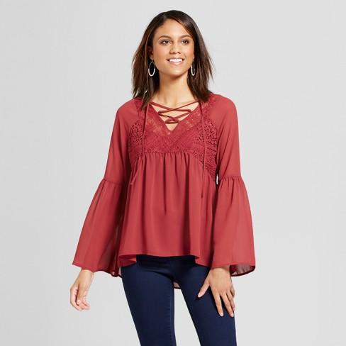 Women's Long Sleeve Lace-Up Peasant Top w/ Cami - Knox Rose™ Burgundy - image 1 of 2