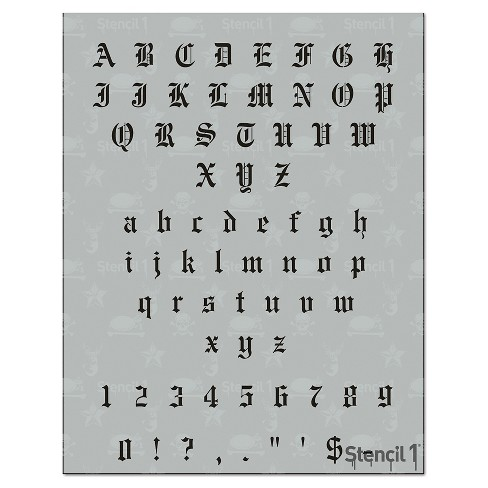 "Stencil1® Old English Font .5"" - Letter Stencil 8.5"" x 11"" - image 1 of 3"
