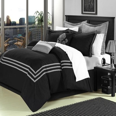 Chic Home Elegant Cosmo Embroidered Oversized Microfiber Comforter Bed In A Bag Set, 12 Piece - Black
