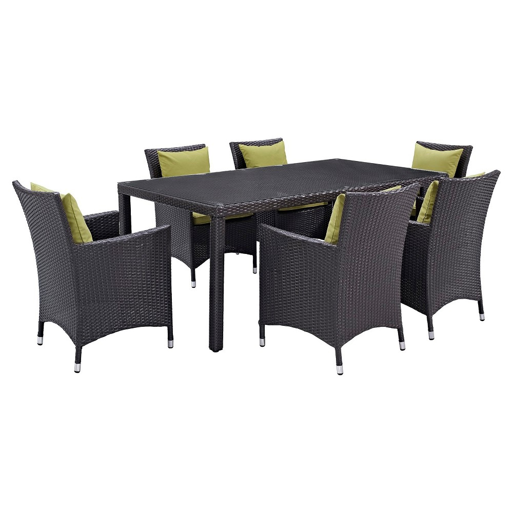Convene 7pc Rectangle All-Weather Wicker Patio Dining Set - Espresso/Peridot - Modway