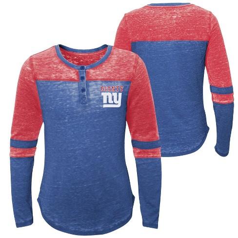 1548ddcb NFL New York Giants Girls' Reverse Pass Burnout Long Sleeve Henley T-Shirt  - XL