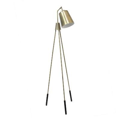 Industrial Tripod Floor Lamp with Interior Spotlight Antique Brass - Lalia Home