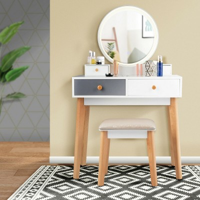 Costway Vanity Table 3 Color Lighting Modes MakeUp Stool Jewelry