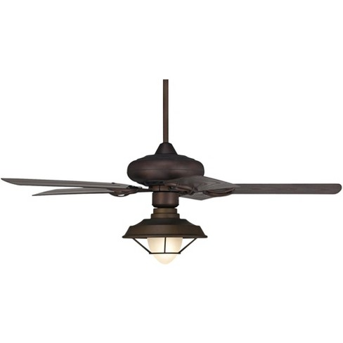 52 Casa Vieja Industrial Indoor Outdoor Ceiling Fan With Light Led Oil Rubbed Bronze Caged Glass Wet Rated For Patio Porch Target