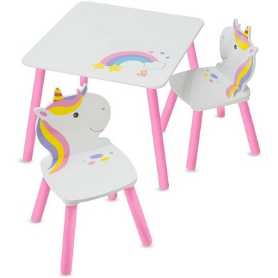 HearthSong Kids' Rainbow Unicorn Table and Two Chairs Playroom Furniture Set