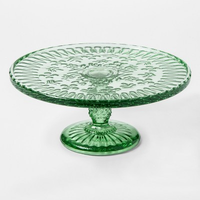 Round Glass Cake Stand 9in Green - Threshold™