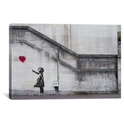 There Is Always Hope Balloon Girl by Banksy Canvas Print (26 x 40 )