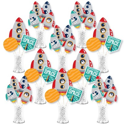 Big Dot of Happiness Blast Off to Outer Space - Rocket Ship Baby Shower or Birthday Party Centerpiece Sticks - Showstopper Table Toppers - 35 Pieces