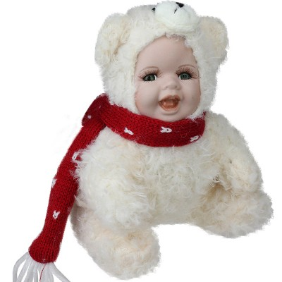 """Northlight 6.5"""" White and Red Baby in Polar Bear Christmas Doll"""