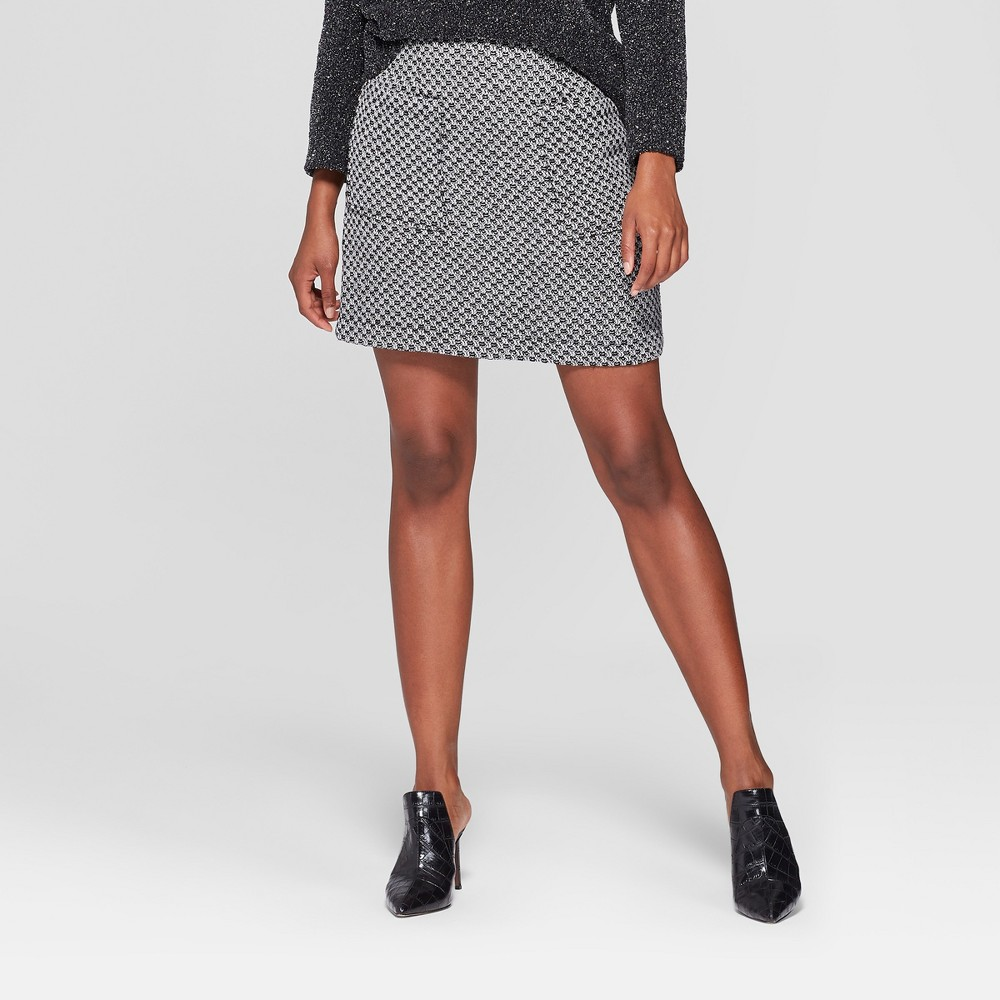 Women's Tweed Mini Skirt- Who What Wear Black/White 6