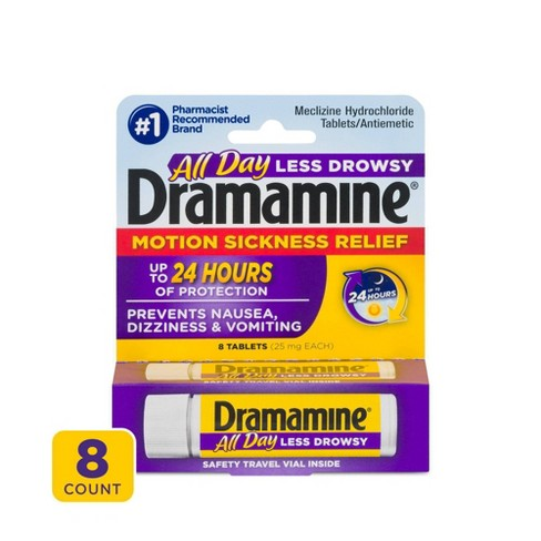 Dramamine All Day Less Drowsy Motion Sickness Relief Tablets - 8ct - image 1 of 3