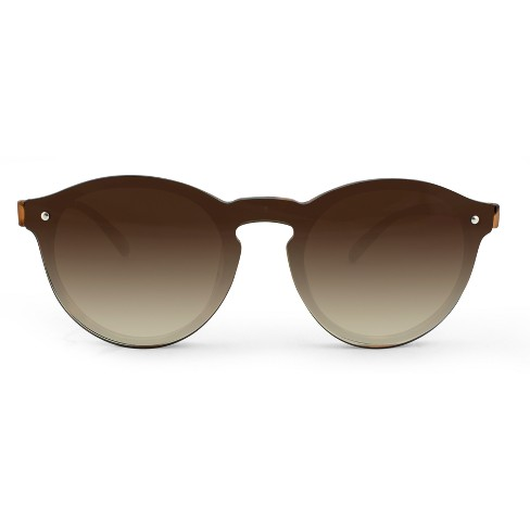 Women's Rimless Round Sunglasses with Keyhole Nosebridge - A New Day™ Brown - image 1 of 3