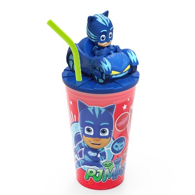 PJ Masks Catboy 15oz Plastic Cup With Lid And Straw Red/Blue - Zak Designs