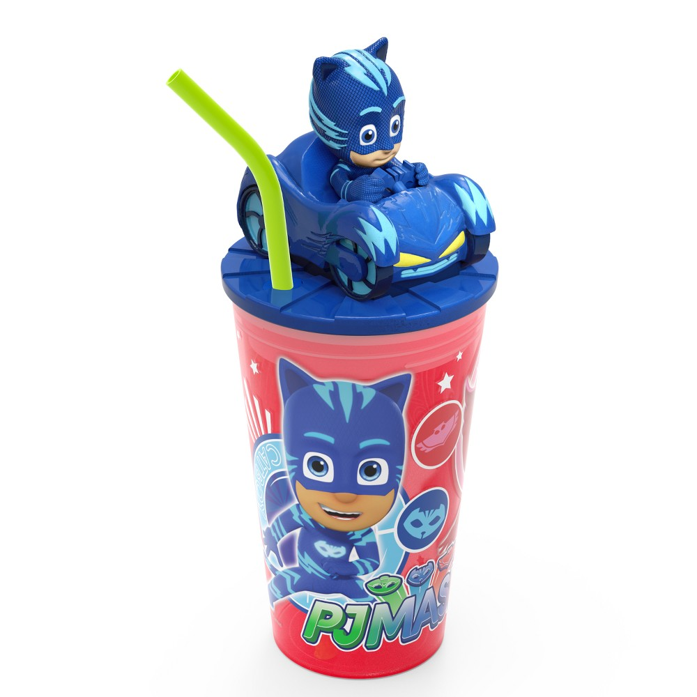 PJ Masks Catboy 15oz Plastic Cup With Lid And Straw Red/Blue - Zak Designs, Multi-Colored