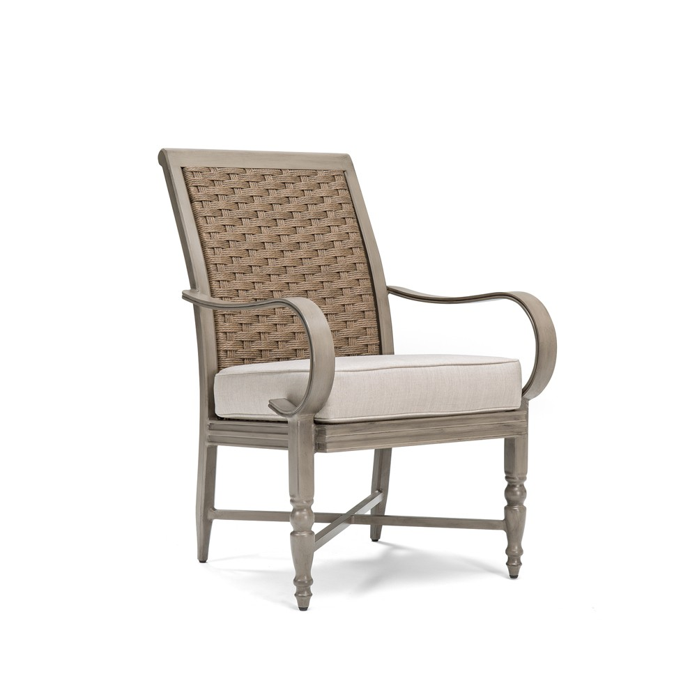 Saylor 2pk Wicker Outdoor Dining Arm Chair with Outdura Remy Sand Cushion - Blue Oak Outdoor
