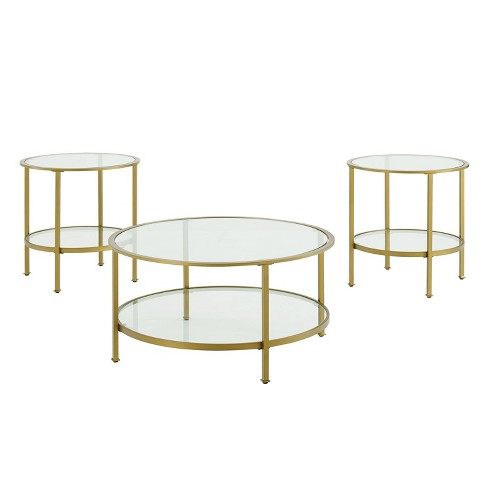 3pc Aimee Accent Table Set Gold/Clear - Crosley - image 1 of 4