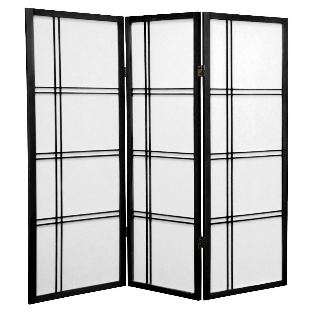 Image of 4 ft. Tall Double Cross Shoji Screen - Black (3 Panels) - Oriental Furniture