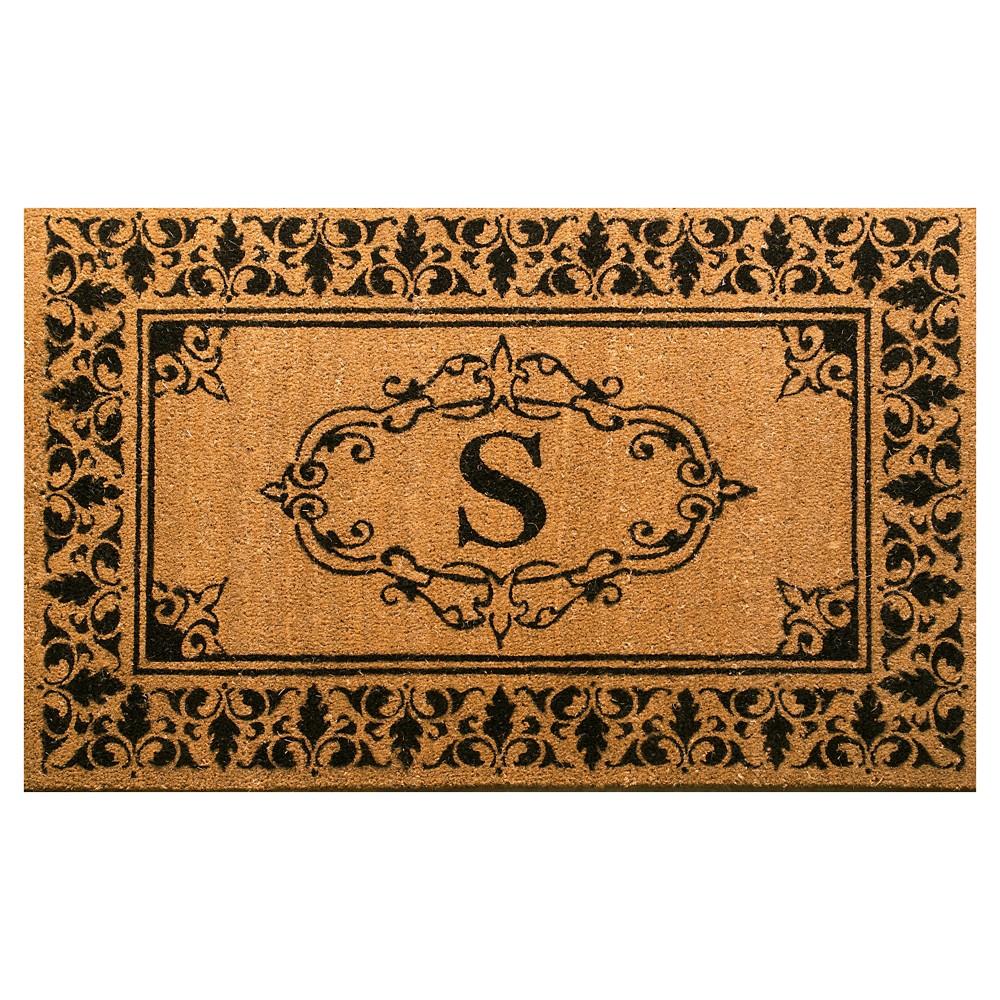 nuLOOM Monogrammed Doormat - Letter S (2' 6 x 4'), Light Brown - S