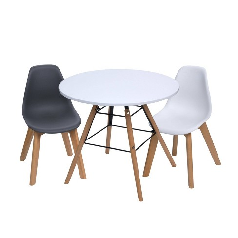 3pc Modern Kids Round Table And Chair, Children's Patio Furniture
