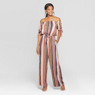 Women's Striped Short Tie Sleeve Off the Shoulder Jumpsuit - Xhilaration™ Gray/Mauve XL