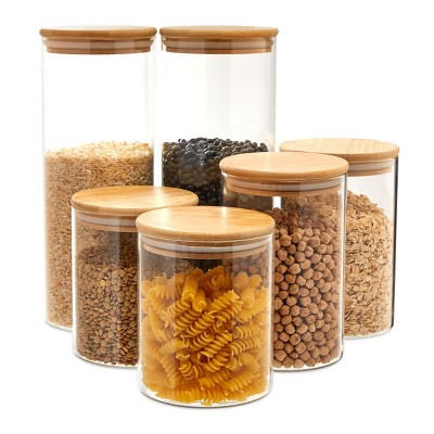 Juvale 6 Piece Set Glass StorageContainers with Bamboo Lids, Airtight Pantry Canisters in3 Sizes
