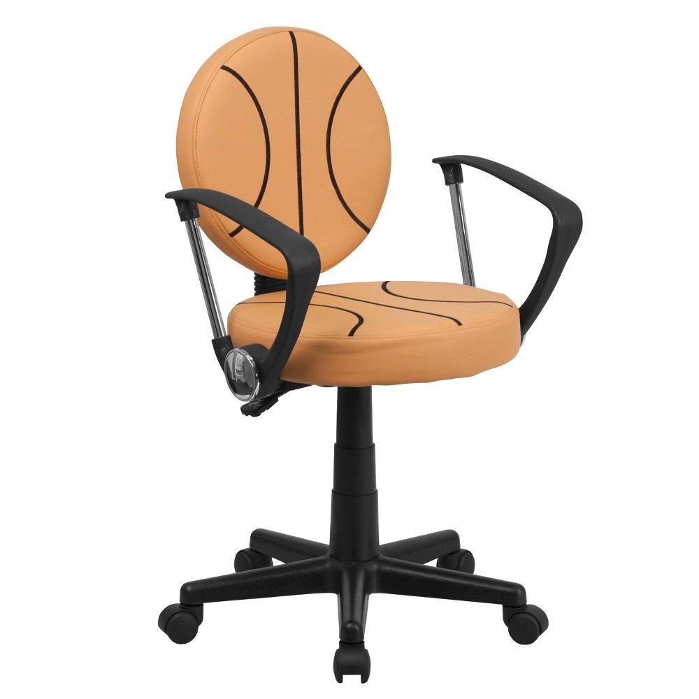 Basketball Task Chair with Arms - Flash Furniture, Brown