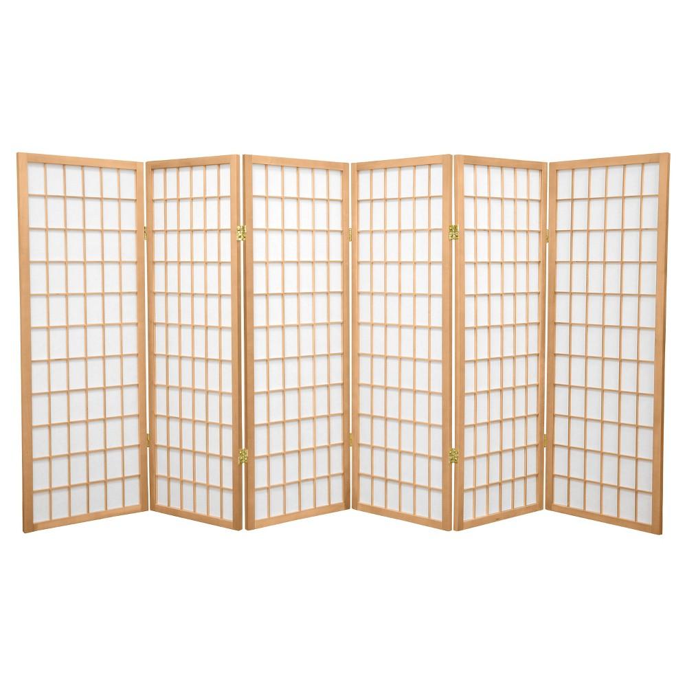 4 ft. Tall Window Pane Shoji Screen - Natural (6 Panels)