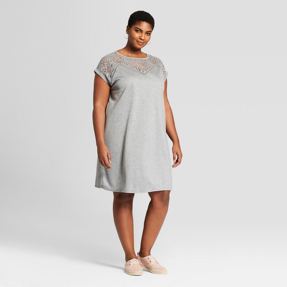Women's Plus Size T-Shirt Dress - Ava & Viv Heather Gray X
