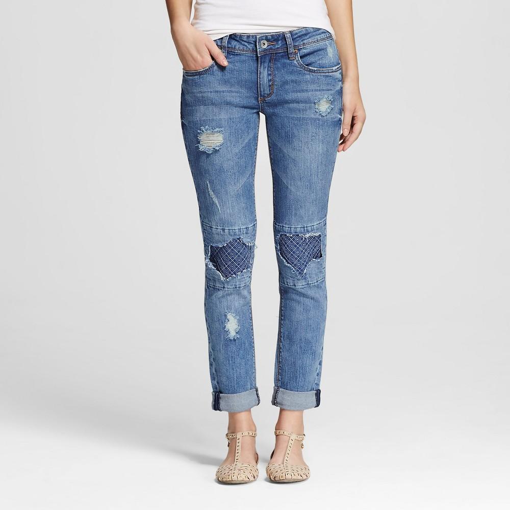 Women's Mid Rise Destructed Skinny Jeans Medium Wash 7 - Dollhouse (Juniors')