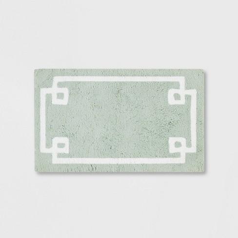 Geometric Cotton Tufted Bath Rug Green
