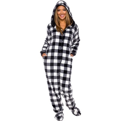 Silver Lilly Slim Fit Women's Buffalo Plaid One Piece Footed Pajama Union Suit