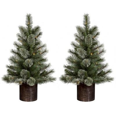 3ft/2pk Pre-lit Artificial Christmas Tree Slim Virginia Pine Clear Lights - Wondershop™