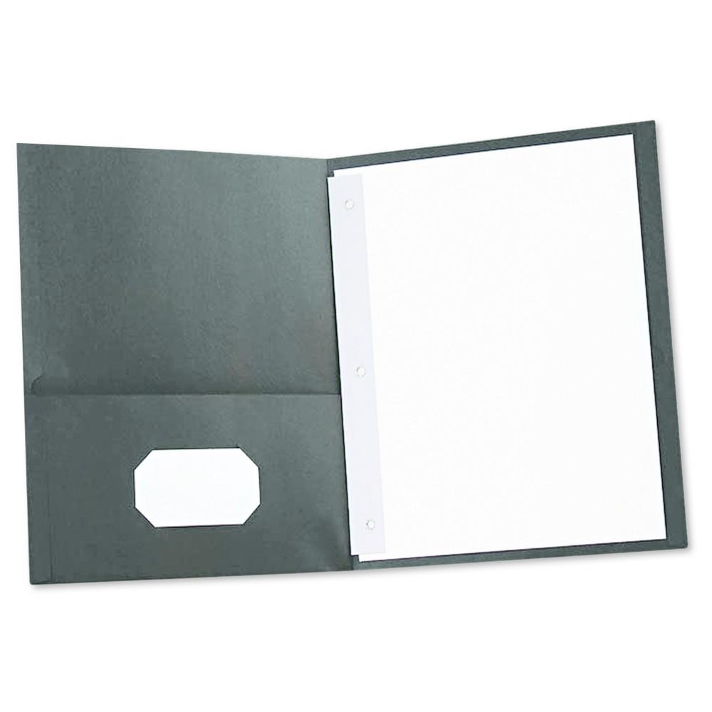 Universal Two-Pocket Portfolios with Tang Fasteners, 11 x 8-1/2, Black, 25/Box
