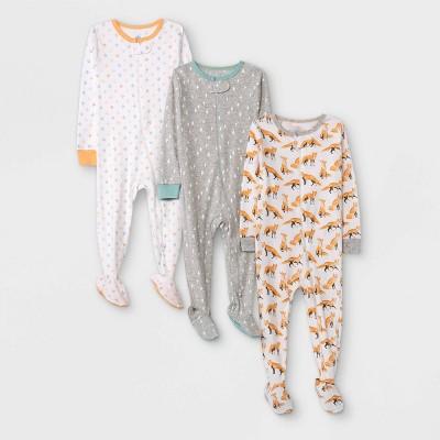 Baby Boys' 3pk Fox Tight Fit Sleep N' Play - Cloud Island™ Orange