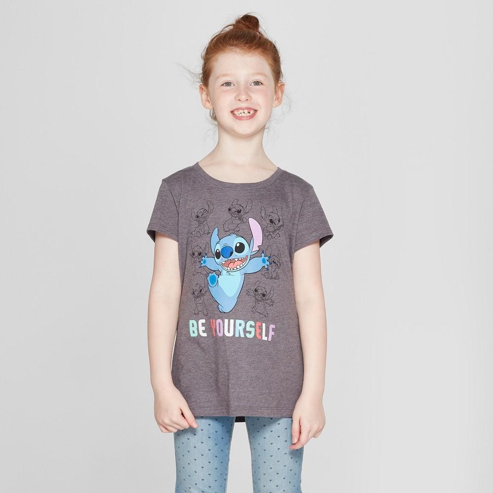 Girls' Lilo & Stitch Short Sleeve T-Shirt - Charcoal Gray XS